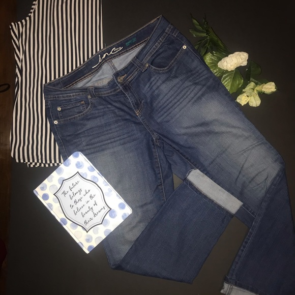INC Denim Denim - INC Denim, dark wash, light fade, skinny leg jean